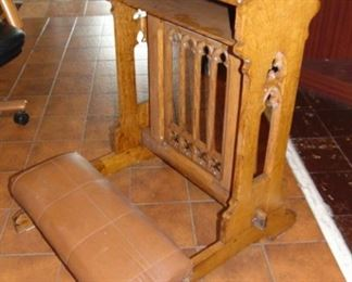 Antique Gothic Oak Church Padded Kneeler