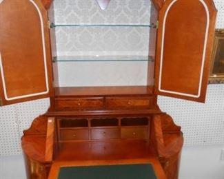 Italian Inlaid Secretary Bookcase Cabinet
