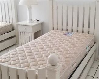 Set of two picket fence TRUNDLE beds