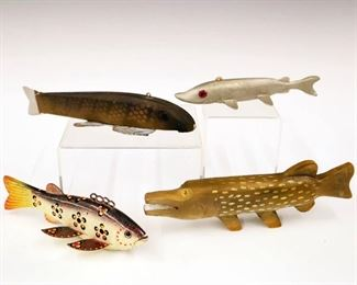 "Lot 1: A Group of Four Mid to Late 20th Century Fish Decoys.  Light wear.  Up to 7 1/2"" long."