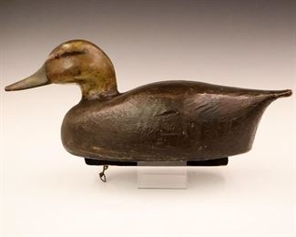 "Lot 14: A Ben Schmidt Mallard Duck Decoy.  Ben Schmidt (St. Clair Flats) decoy with old paint.  Minor wear.  17 1/2"" long."