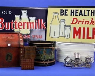"Silver late Napkin Rings, Milk enamel signs, ""Nutmegs"" tin, Toy drum, Ironstone foot-bath"