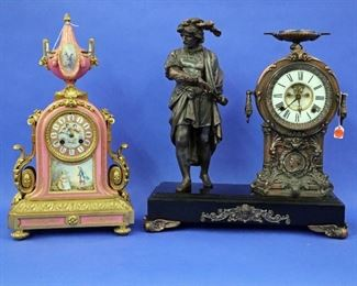 New Haven Figural Clock, French Porcelain Clock by Frank Reed & Co. NY