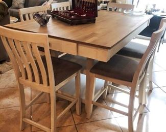 NEW!  Counter Height Dining set in washed wood with driftwood top, 6 chairs, drawers and shelves,.