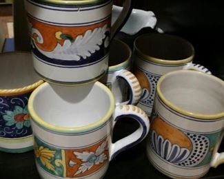 Set of Deruta Italian hand-painted mugs
