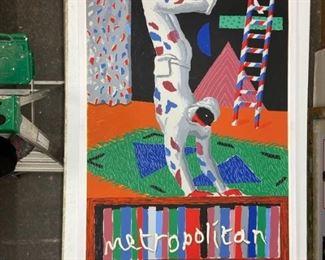 """David Hockney silkscreen 82"""" x 29"""" """"Parade""""."""