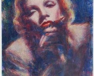 "Graydon Dyck ""Marlene Deitrich"" pastel on paper."