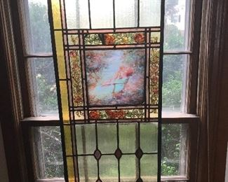 Antique Leaded Stain Glass Window Panels: Several different panels throughout the home.