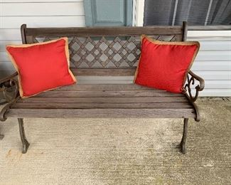 Outdoor wood and iron bench