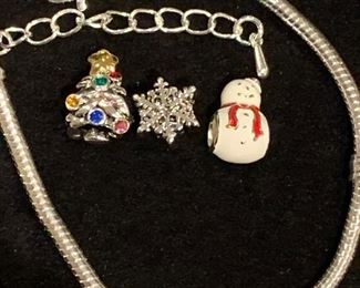 Beautiful high quality Christmas charms with 925 sterling adjustable bracelet