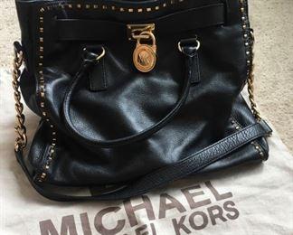 Large Hamilton Michael Kors black leather bag with dust sack