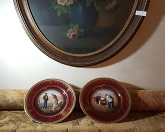 Goya tapestry, floral painting, Millet plates