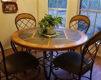 HEAVY metal  and stone kitchen table and chairs