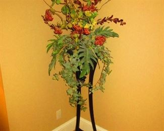 Faux Flowers in Wooden Stand