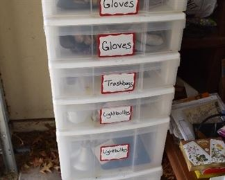 Gloves, tools, light bulbs
