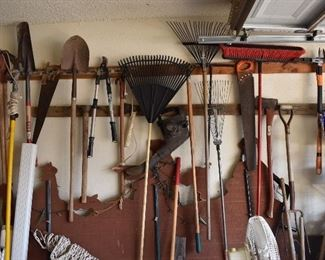 Rakes,shovel, saw, outdoor tools