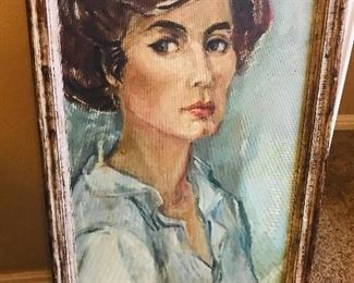 large and lovely original mid century self portrait