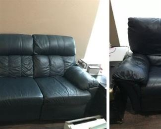 Blue Leather Couch & Recliner