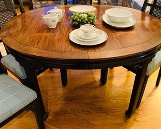 Oriental Style Dining Table with Two Added Leaves, 6 Chairs (Two Captain's Chairs)