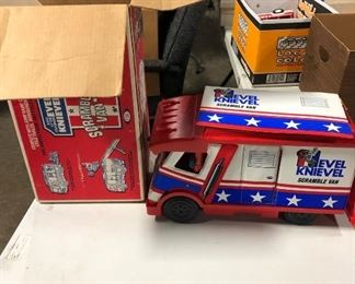 evel knievel vintage toy in original box, complete