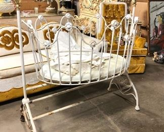Vintage wrought iron baby bed
