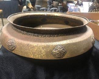 unusual copper ornate cairoware? planter