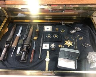 collectors knives German Bayonets, rare gravity knife and more. Rare Coins, some gold rings. and more