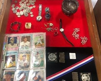 old baseball cards coins silver quarters and dimes