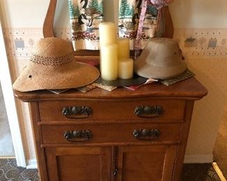 washstand with towel bar, antique oak