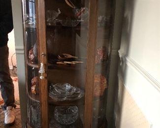 oak curio cabinet curved glass