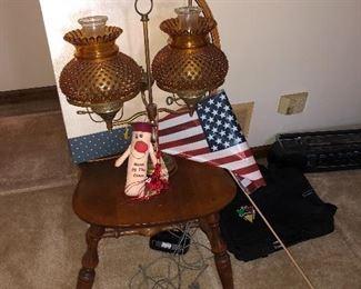 amber hobnail lamp