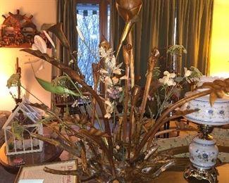 calla lily wood carved flower arrangement