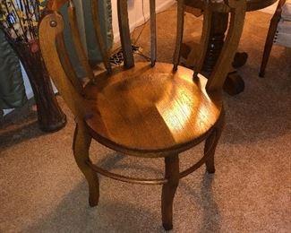 round back antique oak chair