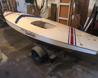1982 sunfish boat with trailer and sail