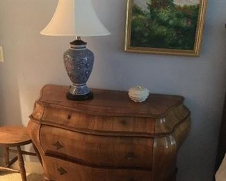 Charming Bombe Chest, Porcelain Lamp, Antique stool