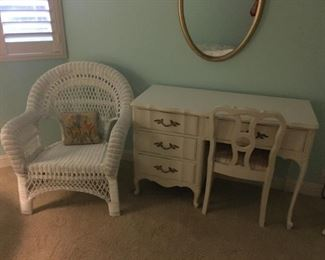 Sweet child's Desk and Chair. Wicker child's Chair.