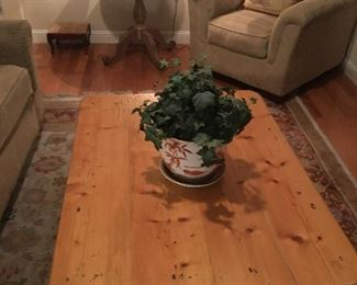 Pine Coffee Table.  Occasional chair and side table.