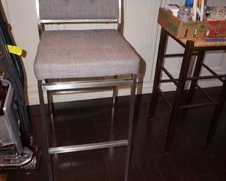 PAIR CHROME BAR STOOLS