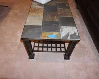 STONE AND IRON COFFEE TABLE