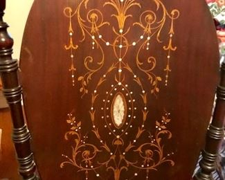 Inlaid mother of pearl mahogany rocking chair