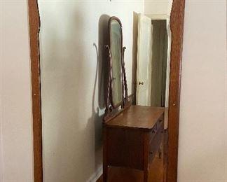 Ornate oak wall mirror