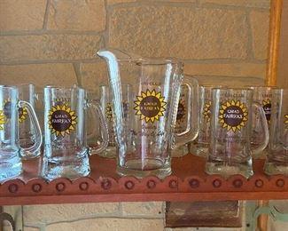"General Motors ""130 club"" glass pitcher & mugs set"