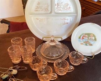 Child's pink depression glass dishes