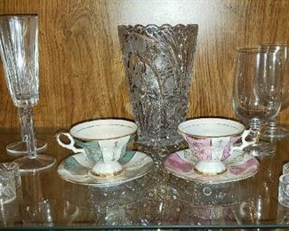 Crystal & Cups & Saucers