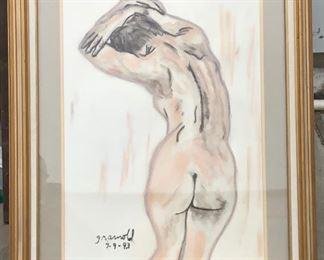 LAN754: Pastel Nude Framed Art by G Arnold Local Pickup  https://www.ebay.com/itm/124045488127