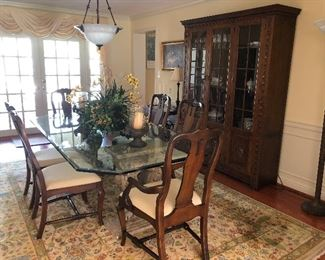 Glass top dining table, chairs and hutch