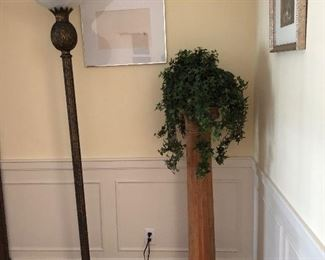 Floor lamps and one of several plant stands