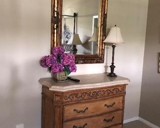 Bachelors chest, mirror and lamps