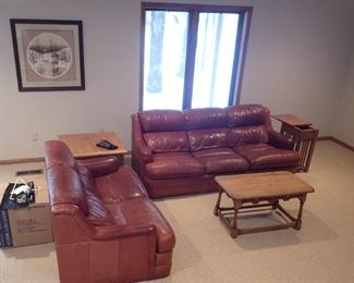 LEATHER SOFA / LOVESEAT / END TABLE / SIDE TABLE/ COFFEE TABLE / ART WORK