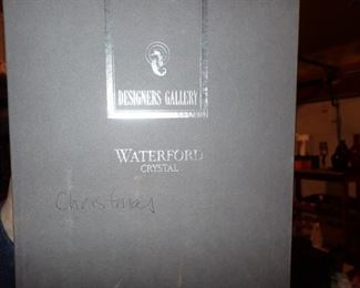 WATERFORD HAND BLOWN SANTA IN VINTAGE CAR IN ORIG BOX